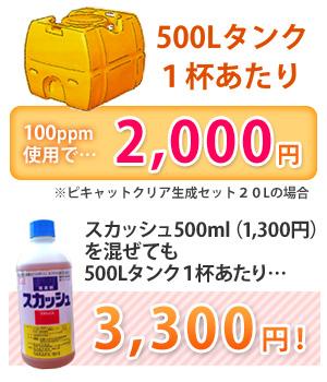 500Lタンク 1杯あたり5100ppm2,000円